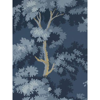 Scalamandre Raphael, Dark Blue Gold Wallpaper For Sale