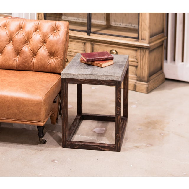 """2010s Rectangular """"Hot Chocolate"""" Elm & Zinc Lamp Table For Sale - Image 5 of 8"""