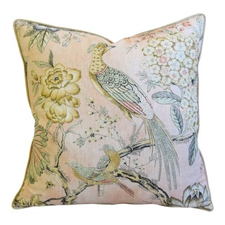 """Blush Pink Anna French Thibaut Floral & Pheasant Linen Feather/Down Pillow 24"""" Square For Sale"""