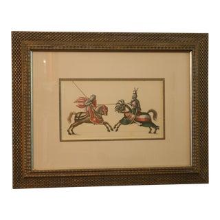 Vintage Giclee Jousting Knights Framed Print