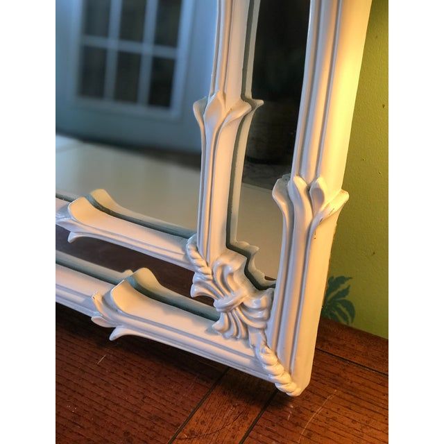 White Vintage Coastal Regency Fleur De Lis Mirror For Sale - Image 8 of 12