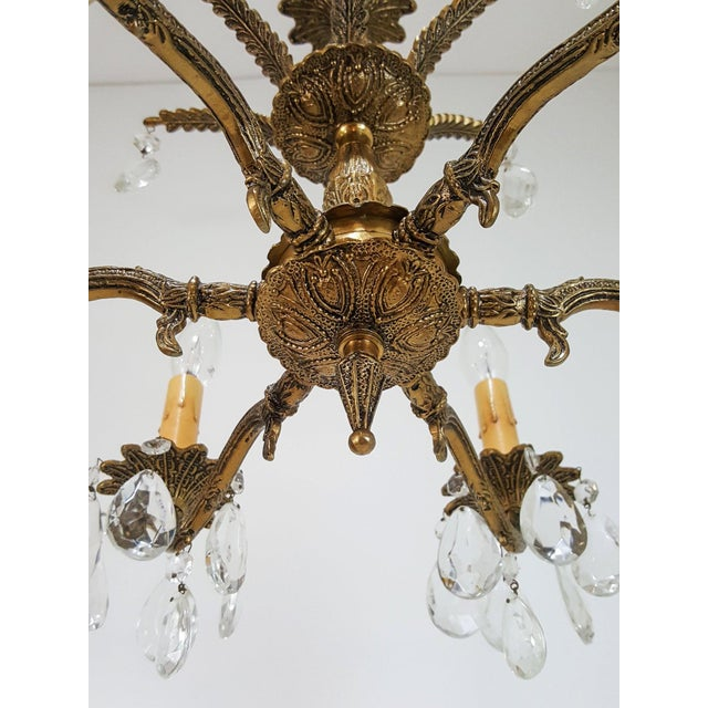Gold Hollywood Regency Ornate Solid Brass & Crystal Chandelier For Sale - Image 8 of 11
