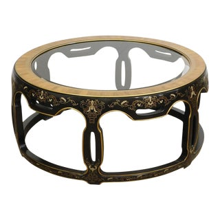 Drexel Heritage Vintage Asian Inspired Glass Top Coffee Table For Sale