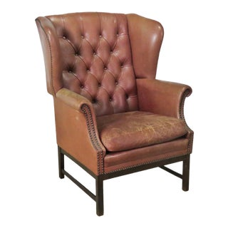 Leather Chesterfield Style Wingback Chair For Sale