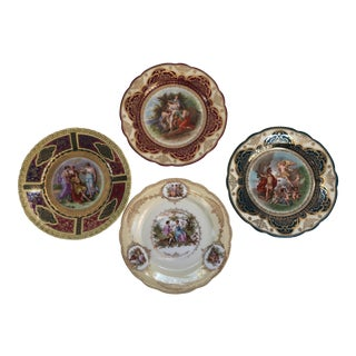 Antique Gold Imperial Crown China Scenic Classical Plates - Set of 4 For Sale