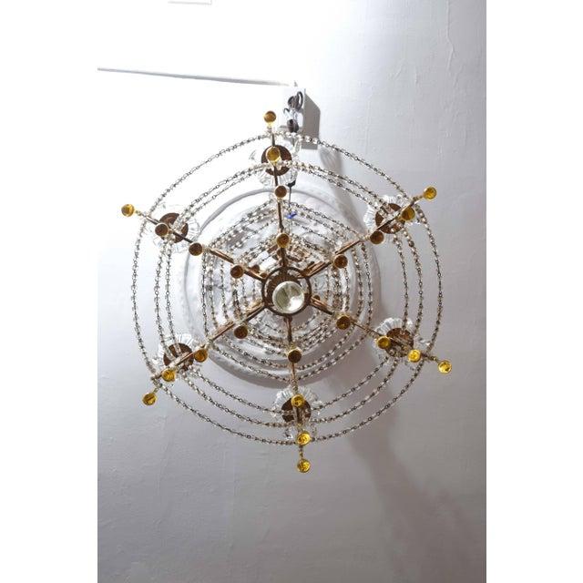 Vintage Venetian Glass and Gilt Metal Chandelier For Sale - Image 9 of 10