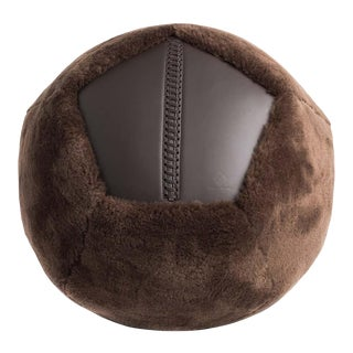Shearling Ottoman in Chocolate Sheepskin by Moses Nadel For Sale