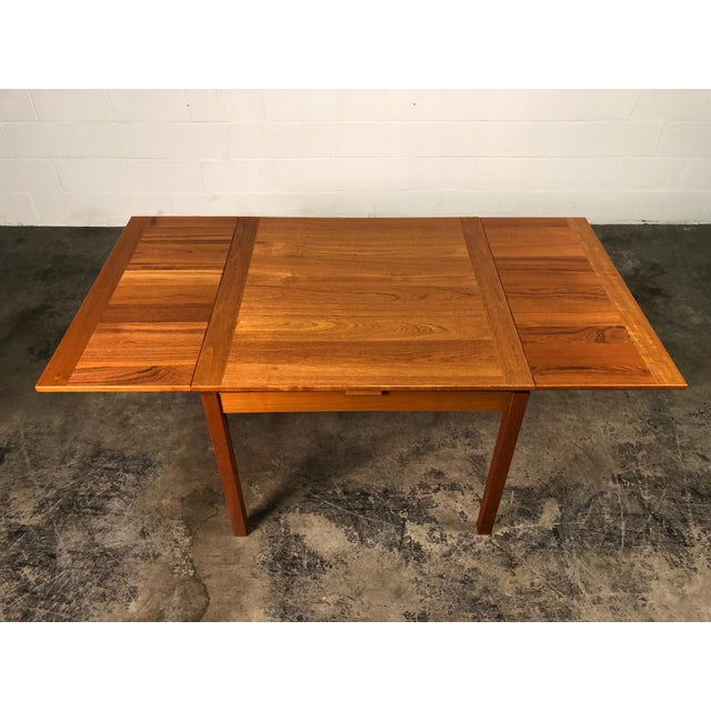 Beautiful Teak Mid-Century Style Expandable Dining Table With 4-Chairs For Sale - Image 4 of 11