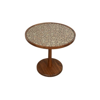 1970s Mid Century Modern Martz Marshall Studios Ceramic and Walnut Side Table For Sale