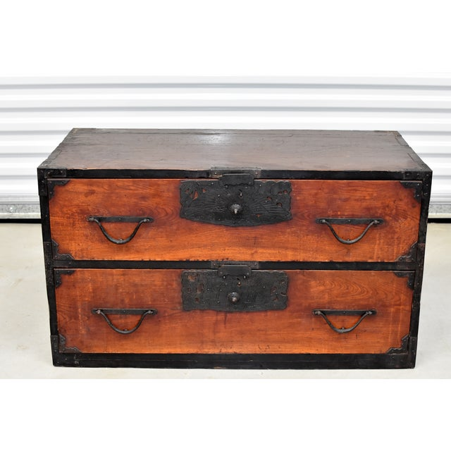 A beautiful vintage, Meiji Period, Japanese Low Tansu with 2 full size drawers. Large, unique, solid iron hardware...