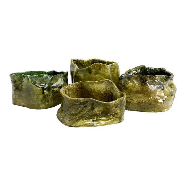 Olive Green Abstract Ceramic Pots - Image 1 of 7
