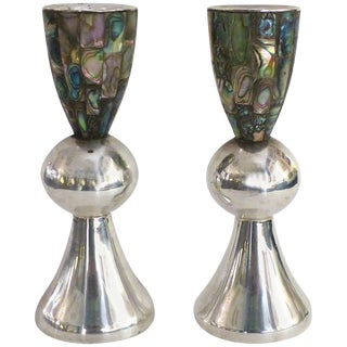 Los Castillo 'Taxco, Mexico' Silver Plate and Abalone Candle Holders - a Pair For Sale