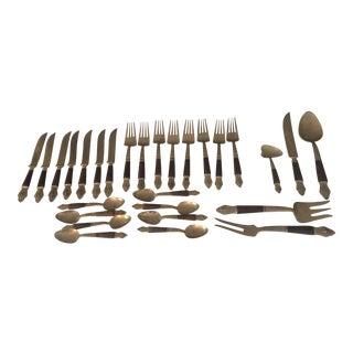 Vintage Brass and Wood Flatware - Set of 28 For Sale