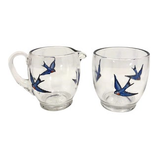 Early 20th Century Glass Creamer and Sugar Bowl With Hand-Painted Bluebirds - a Pair For Sale