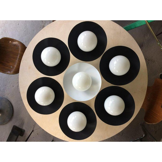 Sasco Brass and Glass Globe Semi-Flush Mount Pendant Light For Sale In New York - Image 6 of 9