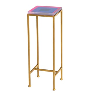 Contemporary Ellsworth Acrylic Drinks Table – Base: Gold, Top: Squares Pink/Navy For Sale