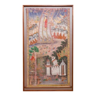 Antique Thai Buddhist Banner Painting, Framed For Sale