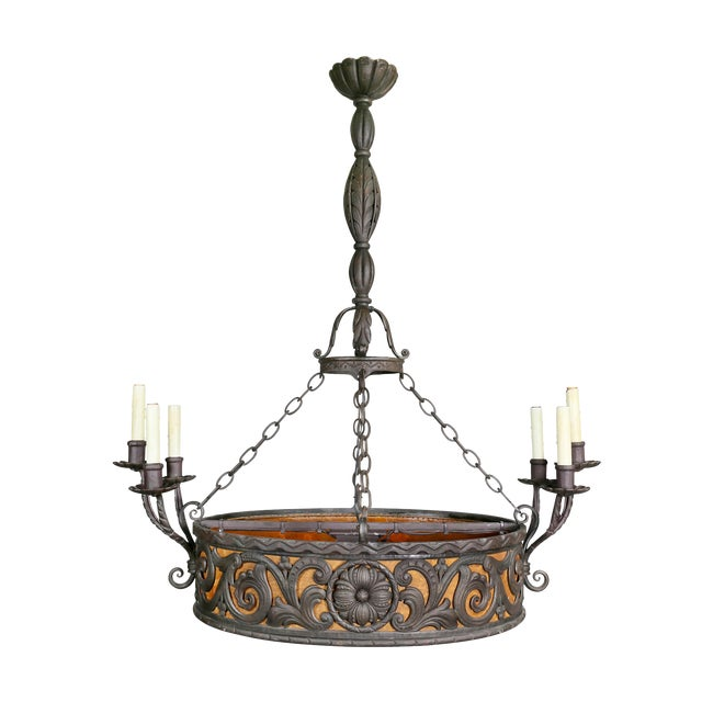 Arts & Crafts Wrought Iron Chandelier For Sale