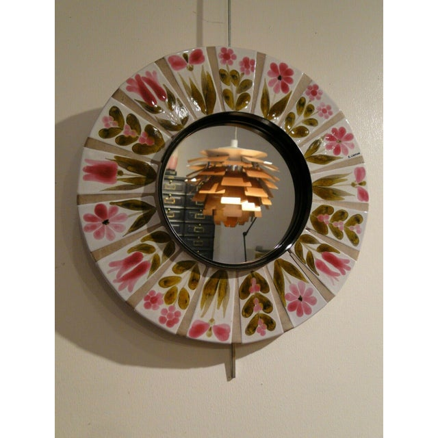 Mid-Century Modern 1960s Roger Capron Round Mirror For Sale - Image 3 of 7