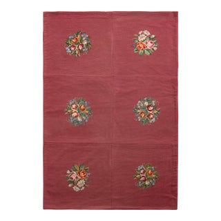 Handmade Antique Needlepoint Rug in Red With Medallion Floral Patterns For Sale