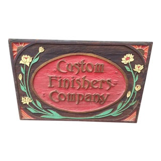 Vintage Hand Carved Wood Advertising Sign For Sale