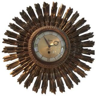 Vintage Syroco Gold Sunburst Clock
