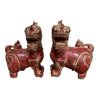 Solid Wood Carved Foo Dogs - a Pair For Sale