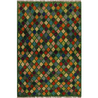 "Balouchi Anastaci Green and Blue Wool Rug - 3'3"" X 5'0"" For Sale"