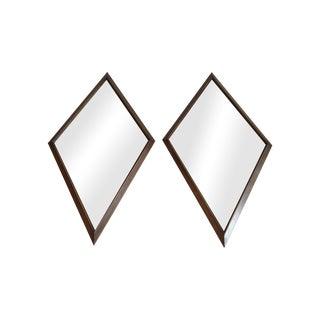1960s Diamond Walnut Mirrors - A Pair