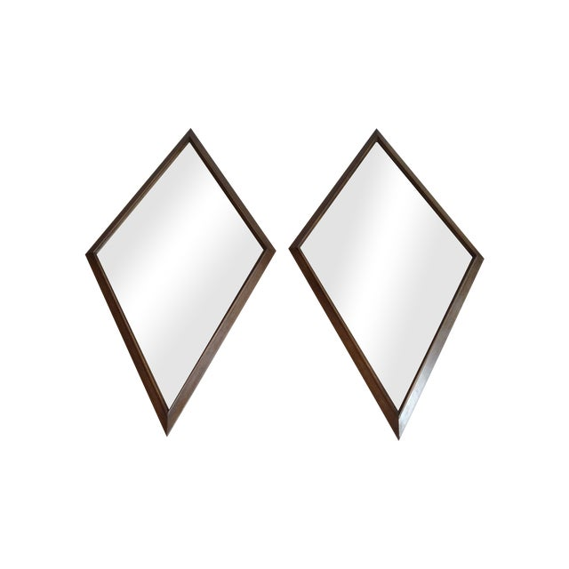 1960s Diamond Walnut Mirrors - A Pair - Image 1 of 5