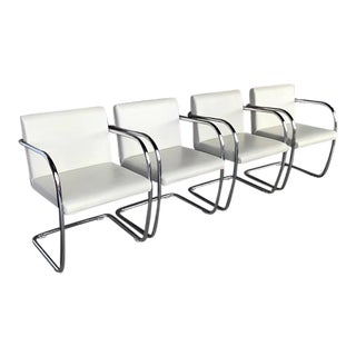 Knoll Brno White Tubular Chrome Chairs- Set of 4 For Sale