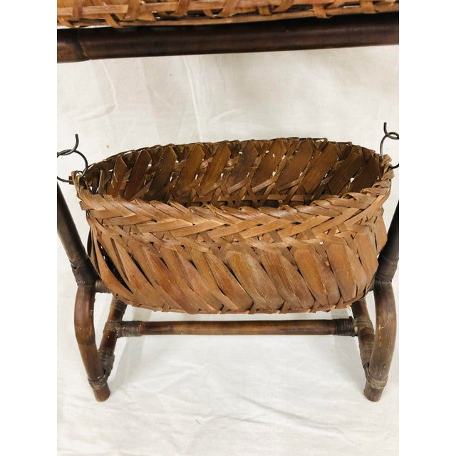 Mid-Century Bentwood Two Basket Organizer For Sale - Image 4 of 11