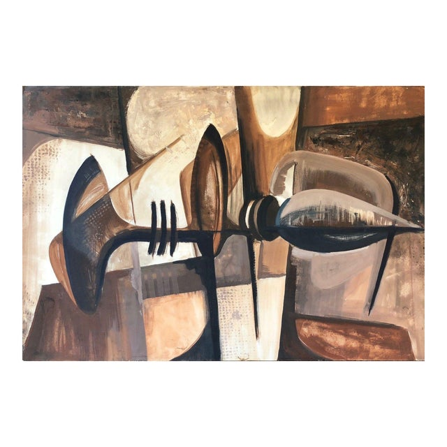 Vintage 1960s Abstract Cubist Shapes Oil Painting For Sale