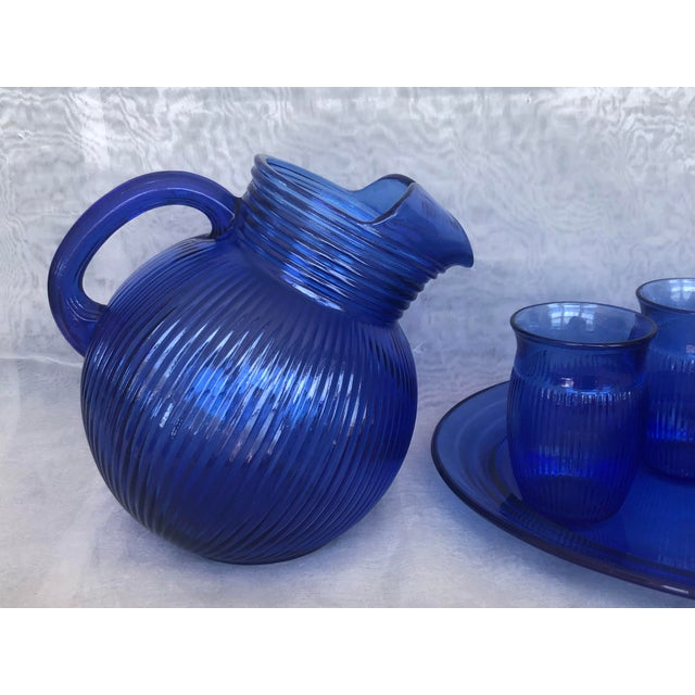 Vintage Cobalt Blue Glass Lemonade Set- 6 Pieces For Sale - Image 4 of 13