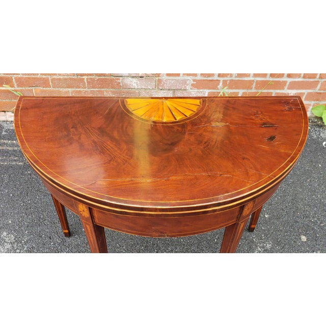 Late 18th Century American Federal Inlaid & Figured Mahogany Demilune Games Table Rhode Island or Connecticut C1795 For Sale - Image 5 of 13