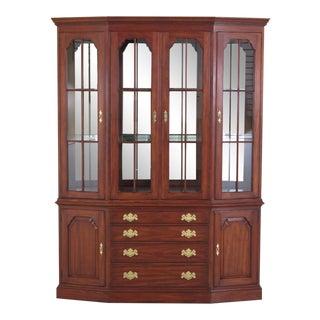 Henkel Harris Cherry Four Door China Cabinet For Sale