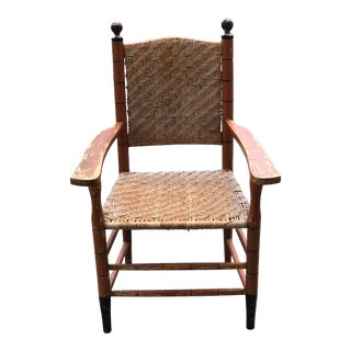 Antique Painted Armchair With Herringbone Caning For Sale