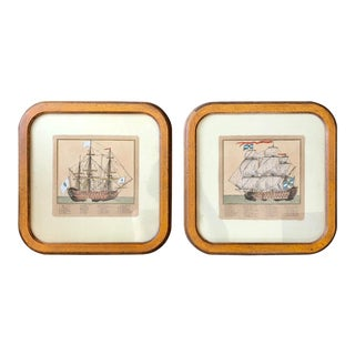 Antique French Hand Colored Sailboat Engravings- a Pair For Sale