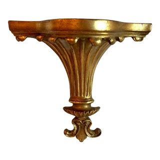Vintage Neoclassical Gilded Plaster Wall Shelf For Sale