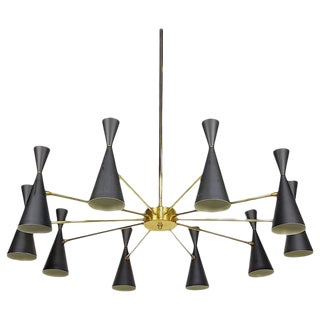 Architectural Monolith Enamel & Brass Chandelier by Blueprint Lighting For Sale