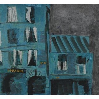Barbara Lewis Modernist Building in Teal, Collage and Painting, Late 20th Century For Sale