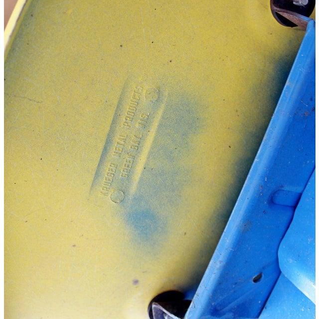 Blue Vintage Krueger Mid Century Modern Metal Sculptural 3 Seat Tandem Bench For Sale - Image 8 of 9