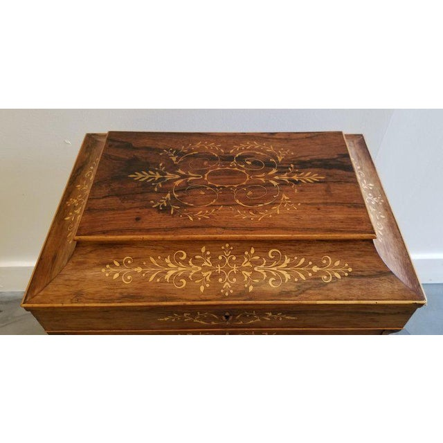 Charles X Inlaid Rosewood Ladies Vanity, Early 19th Century For Sale - Image 4 of 13