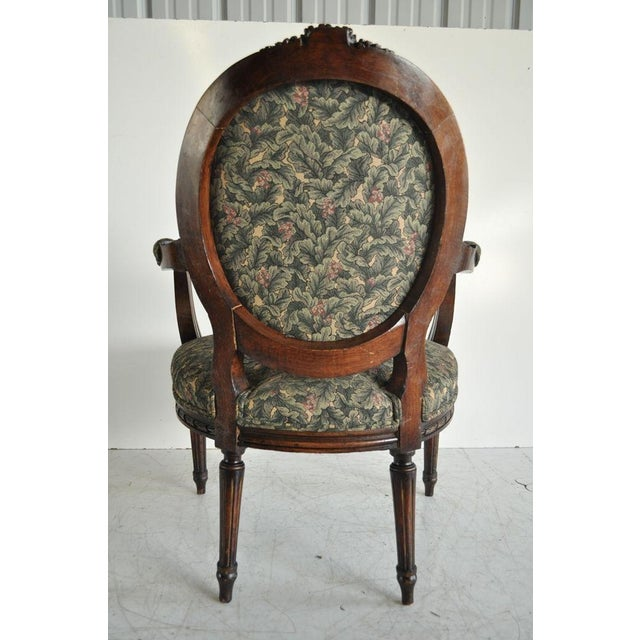 Vintage French Louis XVI Style Carved Walnut Fireside Arm Chair Fauteuil For Sale - Image 4 of 11