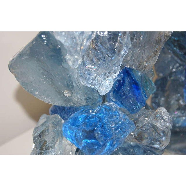Glass Rock Table Lamps by Swank Lighting Blue Crystal - a Pair For Sale - Image 9 of 10