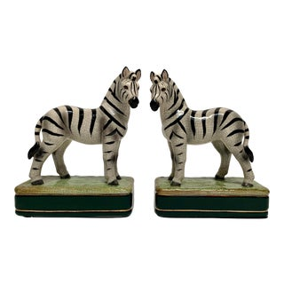 Ceramic Zebra Bookends - a Pair For Sale