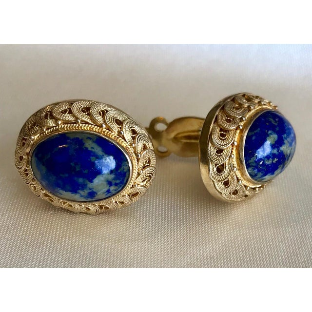 1950s Chinese Gold-Plated Sterling Silver Blue Sodalite Clip-Back Earrings For Sale - Image 4 of 6