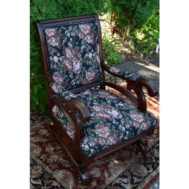 19th Century Antique Victorian Eastlake Mahogany Rocking Chair New Upholstery For Sale - Image 13 of 13