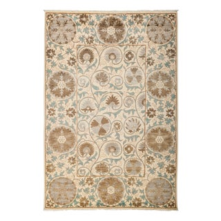 """New Suzani Hand-Knotted Wool Rug - 5'2"""" X 7'10"""""""