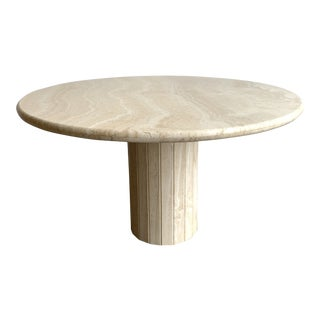 Italian Solid Travertine Round Dining Table For Sale
